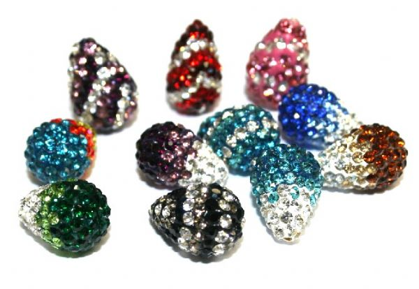 Pave Crystal pear drop beads